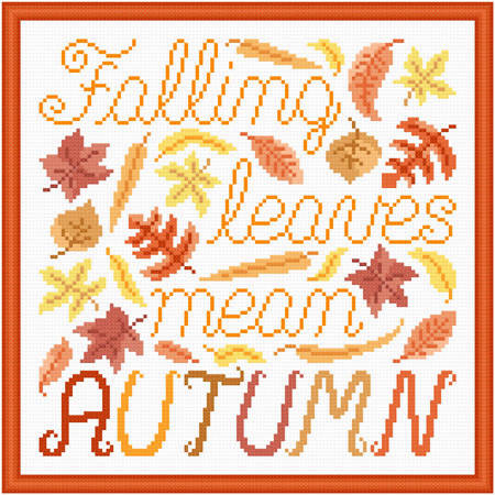 cross stitch pattern Falling Leaves Mean Autumn