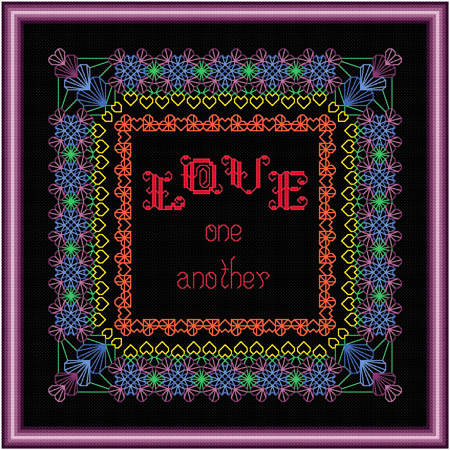 cross stitch pattern LOVE One Another - Rainbow