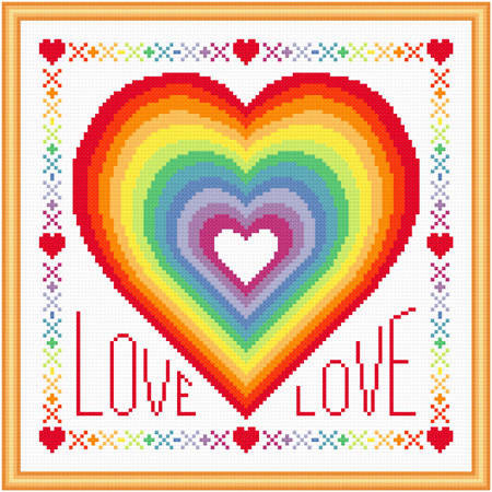 cross stitch pattern Rainbow of Love