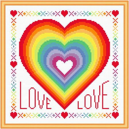 cross stitch pattern Rainbow of Love