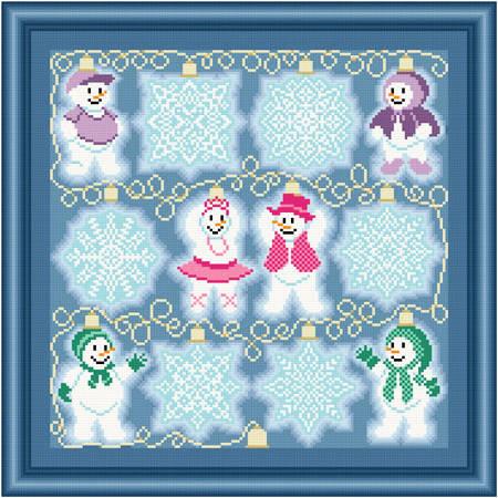 cross stitch pattern String Lights - Snow Flakes-People