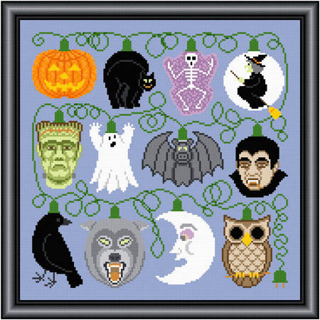 cross stitch pattern Holiday Lights - Halloween