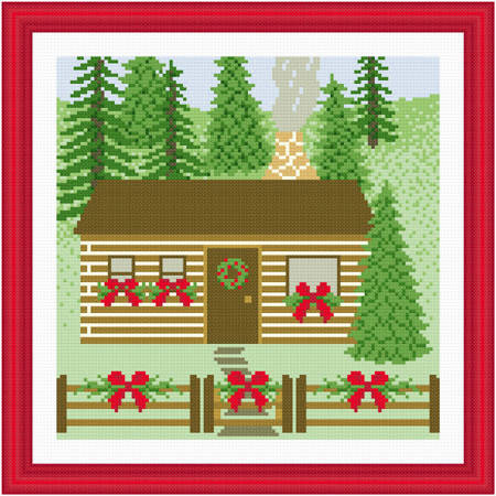 cross stitch pattern Decorated Houuse - Log Cabin