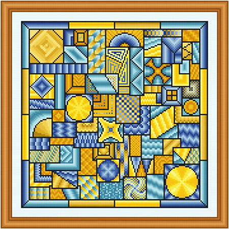 cross stitch pattern So Much to Do  (blue - yellow)