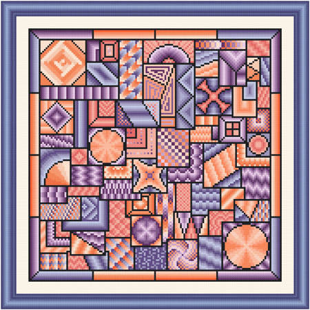cross stitch pattern So Much to Do  (purple - peach)