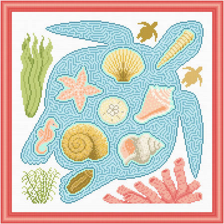 cross stitch pattern Ocean Treasures Maze