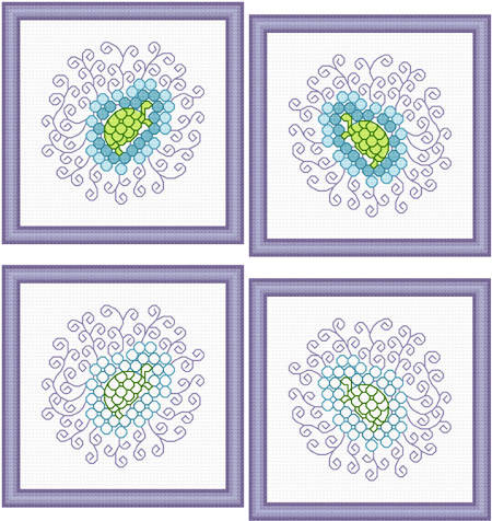 cross stitch pattern Two Sets of Turtle Images
