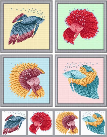cross stitch pattern Set of 4 Betta Images