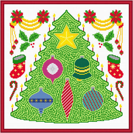 cross stitch pattern Christmas Tree  Decorations Maze