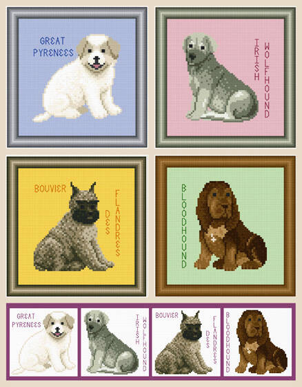 cross stitch pattern Set of Giant Breed Puppy Images - 2