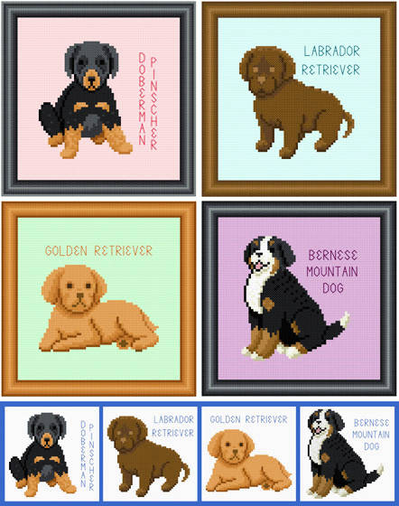 cross stitch pattern Set of 4 Puppy Images - Large Breed