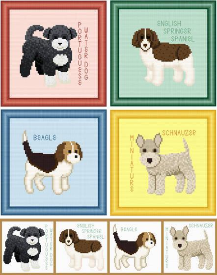 cross stitch pattern Set of 4 Puppy Images - Medium Breed