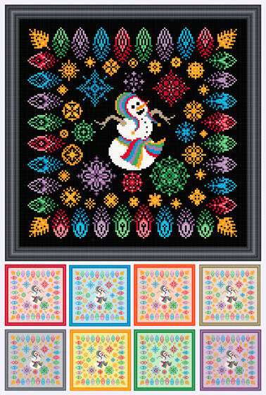 cross stitch pattern Party Time Snowman