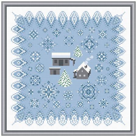 cross stitch pattern Remote Homestead in Winter