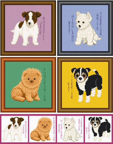 cross stitch pattern Set of 4 Small Breed Puppy Images 2