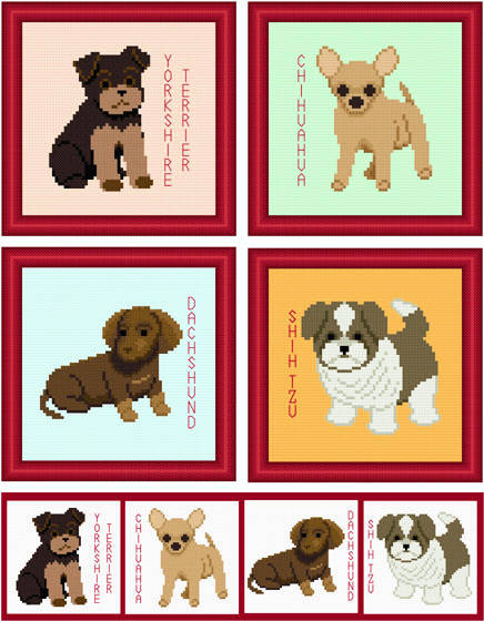 cross stitch pattern Set of 4 Puppy Images - Small Breed