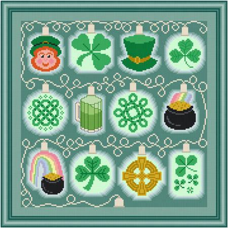 cross stitch pattern Holiday Lights - St. Patrick's Day