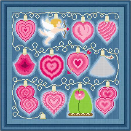 cross stitch pattern Holiday Lights - Valentine's Day