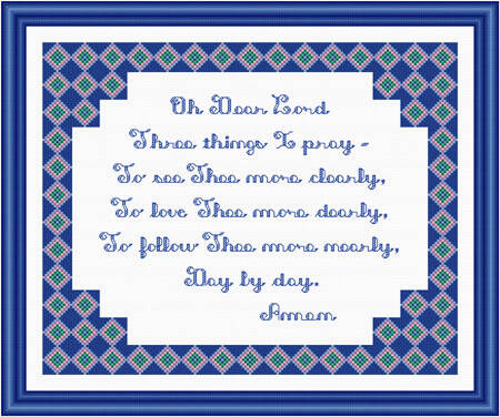 cross stitch pattern Three Things I Pray