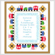 cross stitch pattern Train Baby Sampler