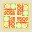 cross stitch pattern Lasagna, Salad, Garlic Bread
