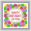 cross stitch pattern Happy Birthday - Bold