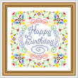 cross stitch pattern Happy Birthday - Flowery