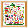 cross stitch pattern Merry Christmas
