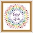 cross stitch pattern Peace and Love