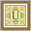 cross stitch pattern Classic Monogram - U