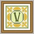 cross stitch pattern Classic Monogram - V