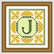 cross stitch pattern Classic Monogram - J