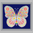cross stitch pattern Mosaic Butterfly (light 'grout')