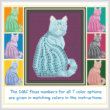 cross stitch pattern Mosaic Cat   (light 'grout')