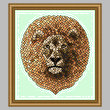 cross stitch pattern Mosaic Lion   (Dark 'Grout')