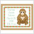 cross stitch pattern Baby Basic Monkey Birth Record