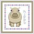 cross stitch pattern Baby Hippo Birth Record