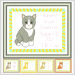 cross stitch pattern Baby Kitten Birth Record