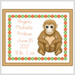 cross stitch pattern Baby Monkey Birth Record