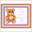 cross stitch pattern Baby Teddy Birth Record