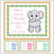 cross stitch pattern Baby Elephant Birth Record