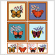 cross stitch pattern Set of 4 Butterfly Images