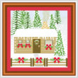 cross stitch pattern Decorated House - Log Cabin - Snow