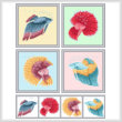 cross stitch pattern Set of 4 Betta Images