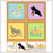 cross stitch pattern Set of 4 Kitten Images