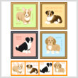 cross stitch pattern Set of 4 Medium Breed Puppy Images 2