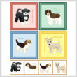cross stitch pattern Set of 4 Puppy Images - Medium Breed