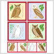 cross stitch pattern Set of 4 Owl Images
