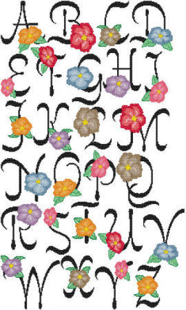 cross stitch pattern Full Blossom Alphabet