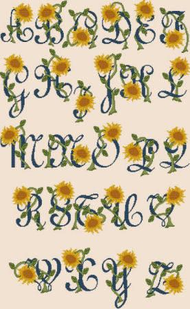 cross stitch pattern Sunflower Alphabet